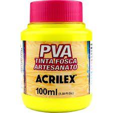 Tinta Pva Acrilex Fosca Amarelo Limão 100Ml