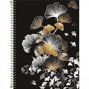 Caderno Tilibra 10x1 Bew Folhas Douradas e Brancas 160fls