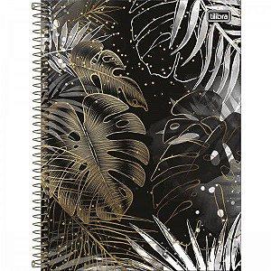 Caderno Tilibra 10x1 Bew Preto com Folhas Douradas 160fls