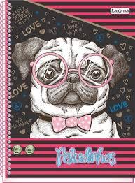 Caderno Kajoma 10X1 Peludinhos Love Cachorro com Óculos 200 folhas