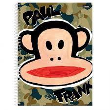 Caderno Foroni 10X1 Paul Frank Fundo Camuflado 200 folhas