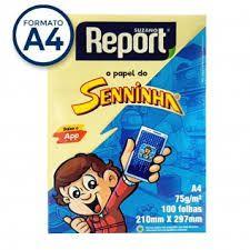 Papel Sulfite A4 Report Amarelo 75G 100 folhas