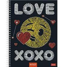 Caderno Foroni 10X1 Emoji Love Xoxo 200 folhas