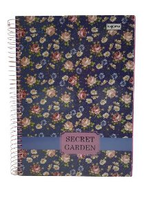 Caderno Kajoma 10X1 Secret Garden Fundo Azul 200 folhas