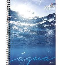 Caderno Foroni 10X1 4 Elementos Água Fundo com Brilho 200fls