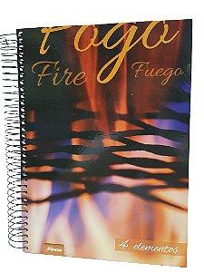 Caderno Foroni 10X1 4 Elementos Fogo, Fire, Fuego 200 folhas