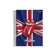 Caderno Jandaia 10X1 Rolling Stones Fundo Bandeira 200 folhas