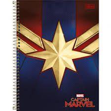Caderno Tilibra 10X1 Captain Marvel Estrela 160 folhas