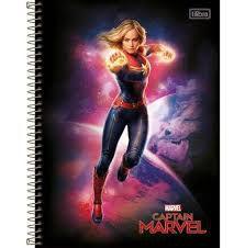 Caderno Tilibra 10X1 Captain Marvel Espaço 160 folhas