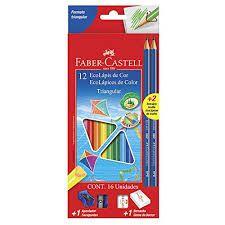Lápis de Cor Faber Castell Triangular 12 Cores +2 Grafite
