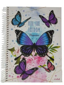Caderno Credeal 10X1 Purpurina Feel The Freedom 200 folhas