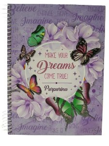 Caderno Credeal 10X1 Purpurina Make Your Dreams 200 folhas