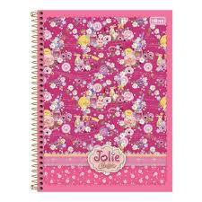 Caderno Tilibra 10X1 Jolie Classic Flores Fundo Rosa 200fls