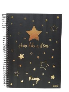 Caderno Credeal 10X1 Stamp Shine Like a Star 200 folhas