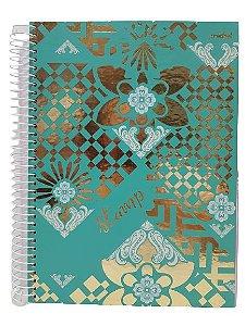 Caderno Credeal 10X1 Stamp Fundo Verde 200 folhas