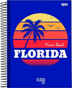 Caderno Jandaia 1X1 Flow Florida Miami Beach 80 folhas