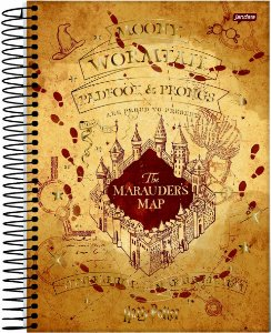 Caderno Jandaia 10X1 Harry Potter Marauder´s Map 200 folhas