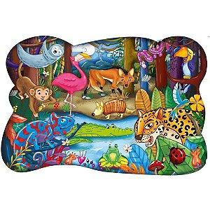 Quebra Cabeça Aventura na Floresta Pais e Filhos 28 peças