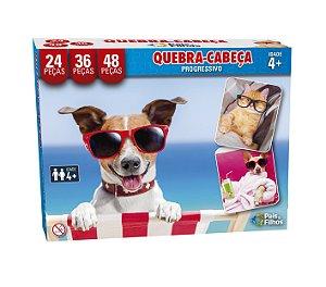 Quebra Cabeça Progressivo Pets Pais e Filhos 24/36/48 peças