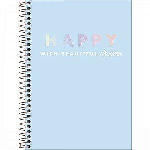 Caderno Tilibra 1/4 Happy Azul Espiral 80 folhas