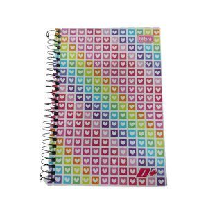 Caderno Tilibra 1/4 D+ Corações Espiral 96 folhas