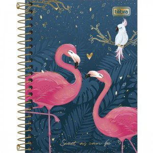 Caderneta Tilibra Aloha Sweet as can be Flamingo 80 folhas