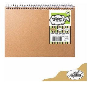 Caderno Sketchbook Kraft Folhas Brancas Merci 40 Folhas 180g