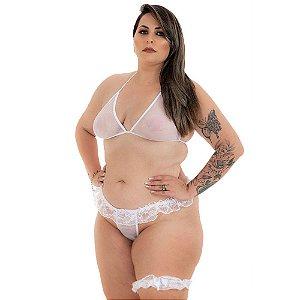 Conjunto Sexy Plus Size Branco - Pimenta Sexy