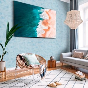 Papel de Parede Vinílico Importado Textura Abstrato Patina Pequeno - Azul