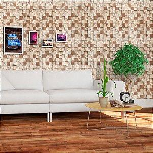 Papel de Parede Vinílico Importado Textura Mosaico Pedras Marrom