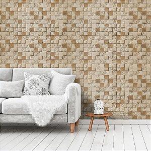 Papel de Parede Vinílico Importado Textura Mosaico Pedras Bege