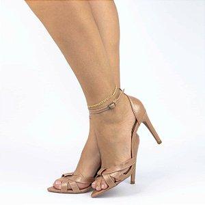 Sandalia bico folha bege