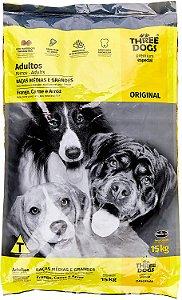 THREE DOGS ORIGINAL FRANGO CARNE E ARROZ ADULTO RAÇAS MÉDIAS E GRANDES 15KG