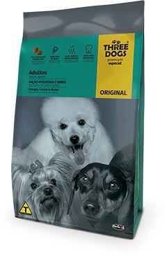 THREE DOGS ORIGINAL FRANGO CARNE E ARROZ ADULTO RAÇAS MINI E PEQUENAS 1KG
