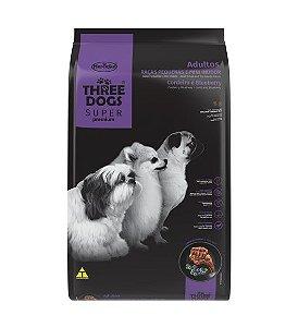 THREE DOGS SUPER PREMIUM CORDEIRO E BLUEBERRY ADULTOS MINI 1KG