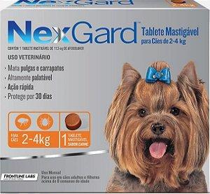 NEXGARD P CÃES 2 A 4 KG ANTIPULGAS E CARRAPATOS - 1 UNIDADE (PRODUTO FRACIONADO)