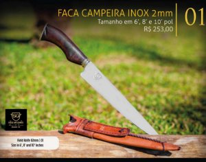 FACA CAMPEIRA INOX 2mm - SG FACAS ARTESANAIS