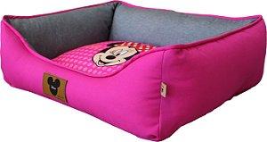 Cama Quadrada Disney Poa Pink Minnie M - Fabricapet