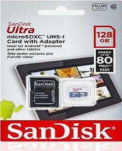 Cartão Memória Ultra Micro SD 128GB Sandisk Classe 10