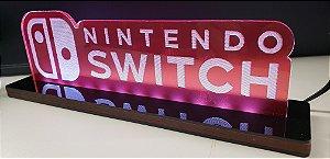 Luminária De Acrílico Led Nintendo Switch Símbolos 25cm