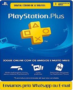 Cartão Playstation Plus 1 Meses Assinatura Oficial 12 Digitos