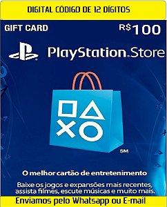 Cartão Presente Digital Playstation BR 100 Reais 12 Digitos