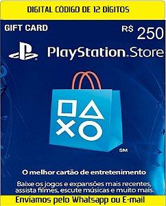 Cartão Presente Digital Playstation BR 250 Reais 12 Digitos