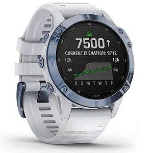 SmartWatch Garmin Fenix 6 Pro Solar Azul Mineral Titânio com pulseira Branca SA