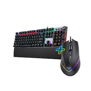 Kit Teclado Gamer Mecânico AULA F2058 com LED + Mouse Gamer AULA 6400dpi Preto/ Luz de Fundo Arco Íris
