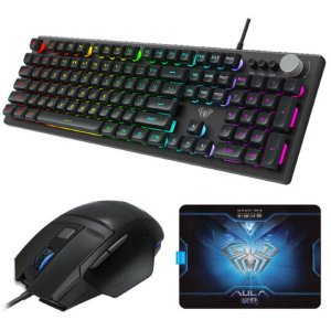 Kit Gamer Teclado Mouse e Mousepad Aula Wind T202 com LED