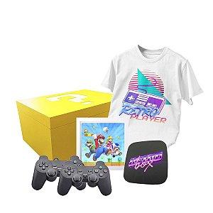 Video Game Retro Box 2 Controles PS2 USB + Camisa Gamer + Quadro Gamer + Luminaria Super Mario