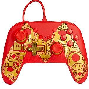 Controle Aprimorado PowerA Com Fio Nintendo Switch Vermelho/ Dourado