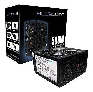 Fonte Atx 500 Watts Reais 24 Pinos Bluecase 500w Real