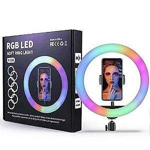 RGB LED SOFT RING LIGHT MJ26 26cm com tripé 2.10cm